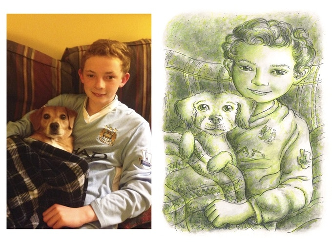 """A snapshot and an original 11"""" x 14"""" Bar-Dog-style portrait created from the snapshot"""