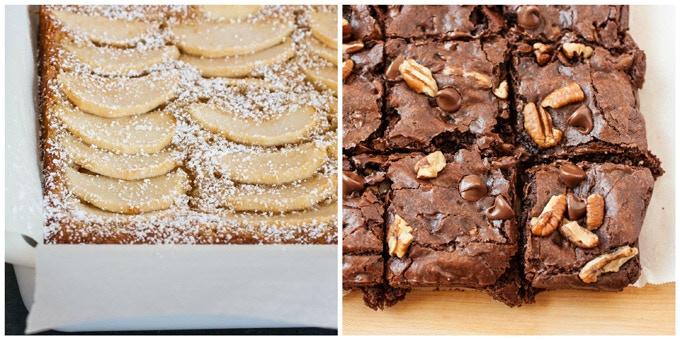Sweet Treats: (Left) Apple-Almond Cake | (Right) Triple Chocolate Saucepan Brownies