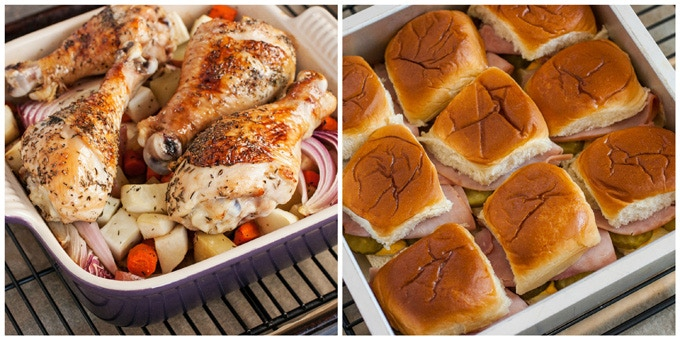 Weeknights Won: (Left) Honey Glazed Chicken with Root Vegetables | (Right) Hot Ham and Cheese Sliders