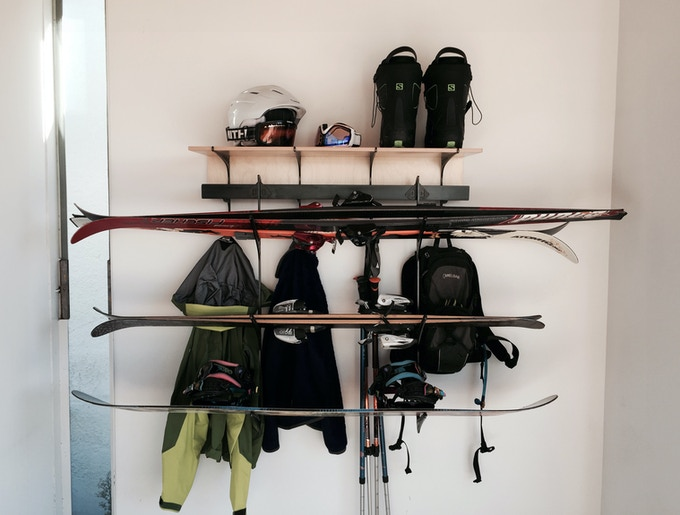 Double D Rack with ski and board accessory