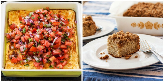 Breezy Brunch: (Left) Fluffy Baked Omelet with Pico de Gallo | (Left) Buttermilk Banana Crumb Cake