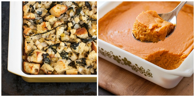 On the Side: (Left) Chard Apple Stuffing | (Right) Carrot Custard