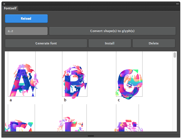 The Fontself extension's panel. Everything you need to create a font. (Color goodness by Bram Vanhaeren)