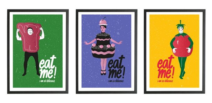 Handprinted Art Posters of our food characters - The Steak, The Pastry and The Tomato