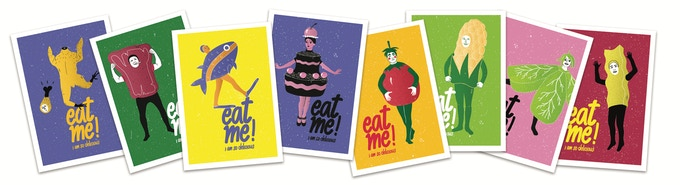 Complete set of 8 Eat Me! postcards