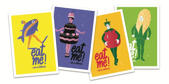Set of 4 Eat Me! postcards