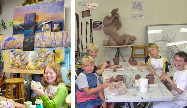 My sculpture and paintings are all around the studio and often provide teaching elements and ideas. Behind the students in these two photos you can see paintings and sculpture in process.