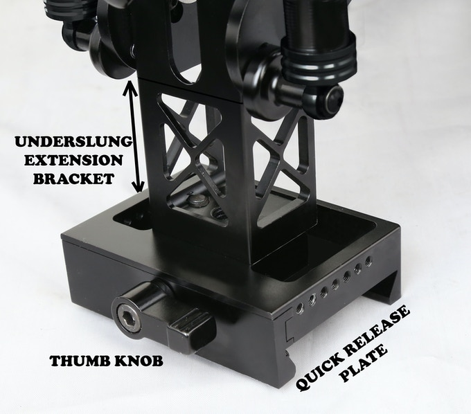 Underslung Kit- Extension Bracket, Quick Release Plate and Thumb Knob