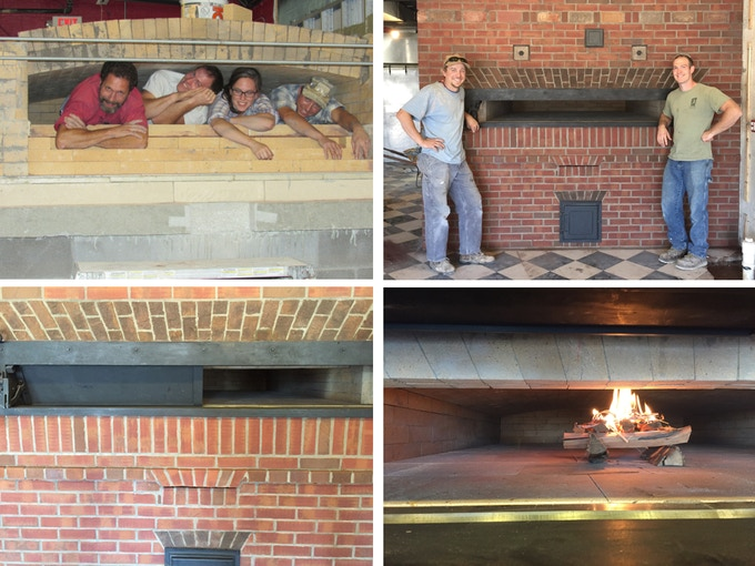 Our beautiful 20 ton masonry oven and its first baby fire!!!