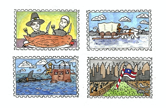 Stamps from New America (A melted Antarctica)