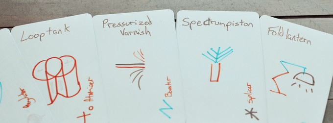 Tommy's original hand-drawn test-deck (Matt made us hire a professional illustrator after this).
