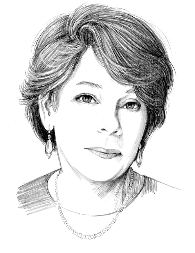 Pencil drawing of Joy Santlofer by Jonathan Santlofer