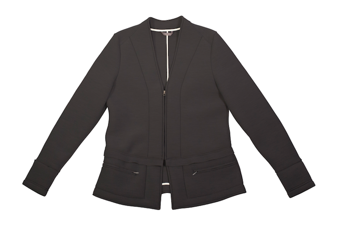 Women's Collarless Jacket in Charcoal