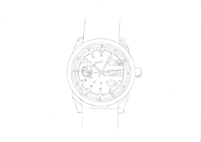 Fully Designed Watch Drawing