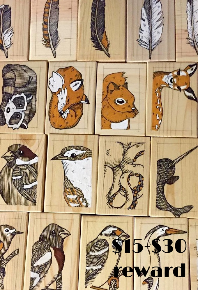 Mini Woodblock Illustrations by Waxwing shop owner Steph Davies, $15-$30 rewards