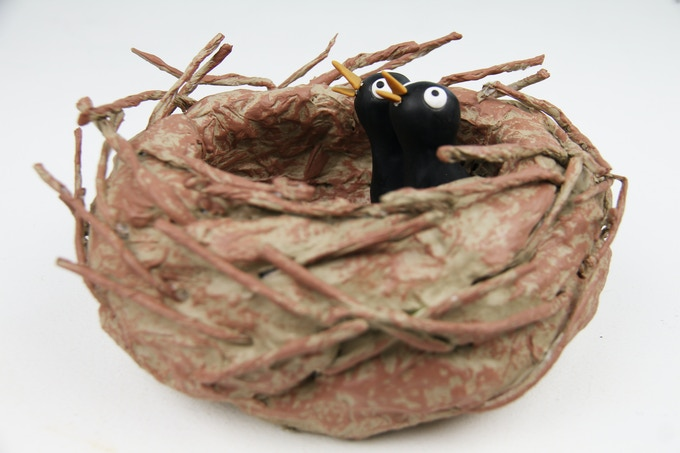 One-of-a-kind handmade bird's nest, complete with two baby birds, featured in the film. Cheep cheep!