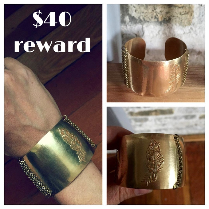 Etched Feather Brass Cuff designed by Waxwing shop owner, Steph Davies, $40 reward