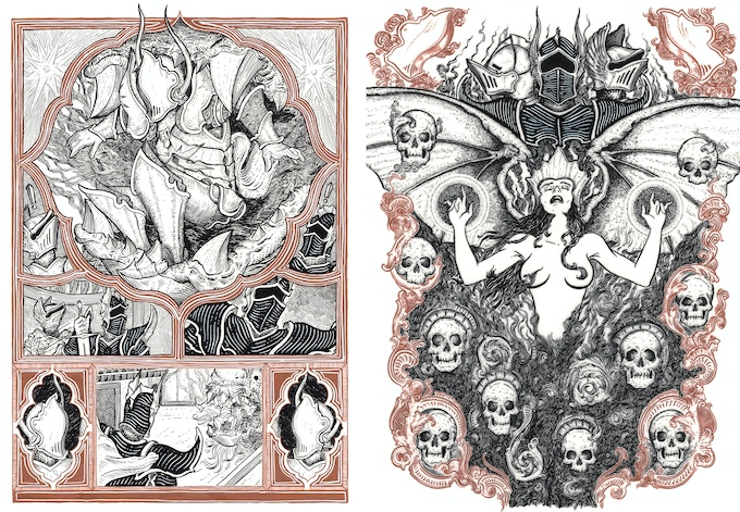 A few more page examples featuring the White, and Morgan Le Fey!