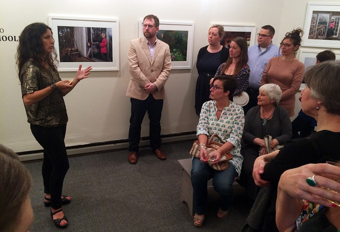 Giving a talk during the opening reception of the 'Homeschooled' solo exhibition at The Center for Photography at Woodstock, New York, in April 2015 (click on the image for more info)