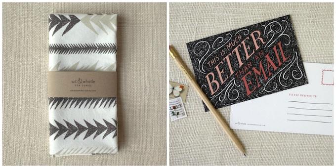 Wit & Whistle // Reward Offers: Screenprinted Tea Towel & Postcard Set