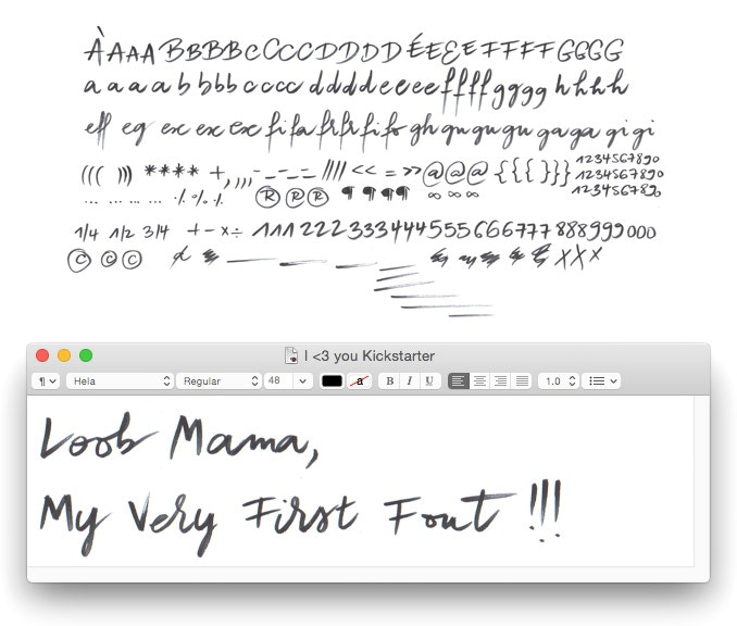 Turning Audrey Leroy's handwriting into a truly rich & lively font, using shades, variants & ligatures