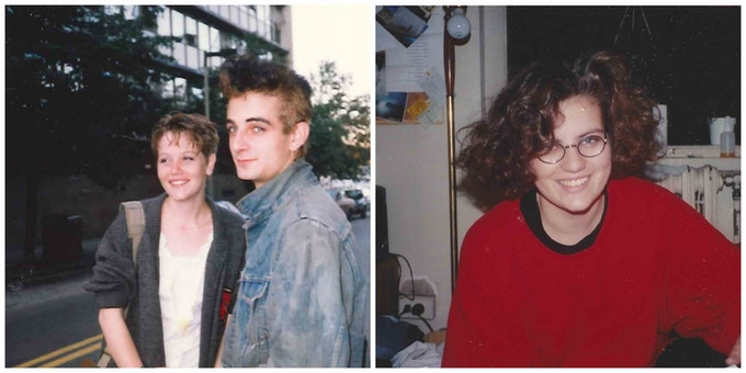 Then: Mat at NEC and Tanya in her Juilliard dorm room, circa 1988.