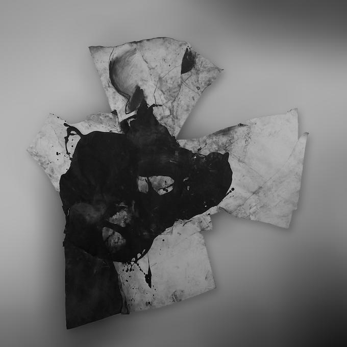 "Wesley Kimler, Black Blizzard, Afghan Kite painting 72""x72"""