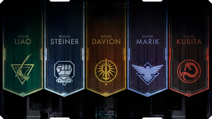 The emblems of the five Great Houses of the Inner Sphere.