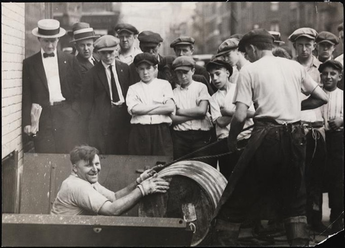 Illegal barrels of alcohol during Prohibition, 1922