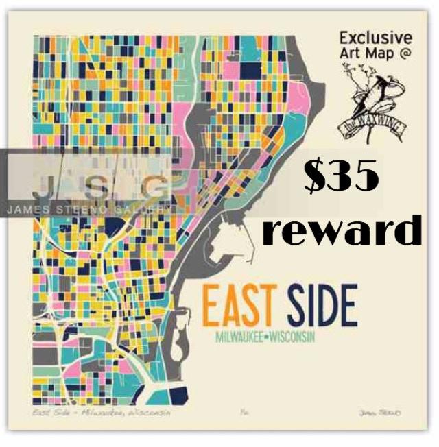 Eastside Milwaukee limited edition print by Waxwing shop artist James Steeno, $35 reward