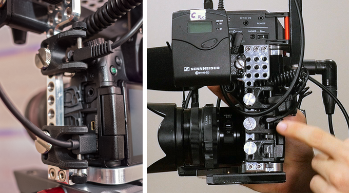"""Notice in the photo on the right, that a 3rd cable lock is used to secure a cable out of the headphone jack and into the """"cam in"""" on the Tascam 70d for monitoring what the camera is hearing through the Tascam's headphone port."""