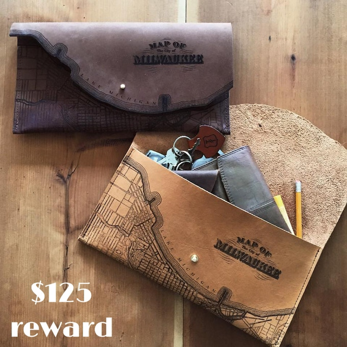 Milwaukee map leather clutch created by Waxwing artist Tactile Craftworks, $125 reward
