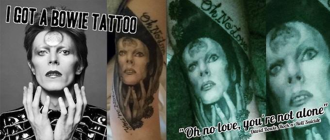 David Bowie portrait tattoo done by Scott Bruns at Sanctuary Tattoo in Portland, Maine