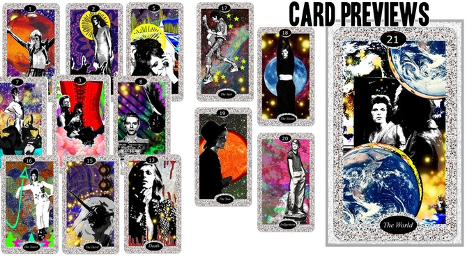 Major Arcana Preview shows The Alien (replacing the magician in traditional tarot), The High Priestess, The Empress, The Priest, The Chariot, Justice, Death, The Devil, The Tower, The Star, The Moon, The Sun, Judgement, and The World