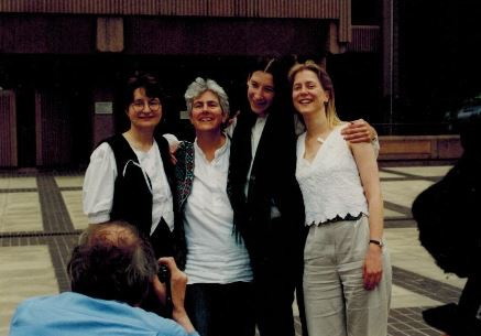 Andrea, Angie, Lotta and Jo after their acquittal