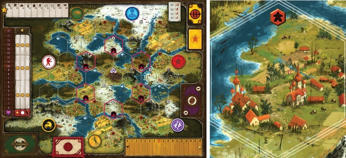 The highly detailed game board for Scythe (full board on left, sample territory on right) depicts the areas near the mysterious Factory. This is a fully-formed world with a specific story, so the board is not modular (see FAQ for more details).