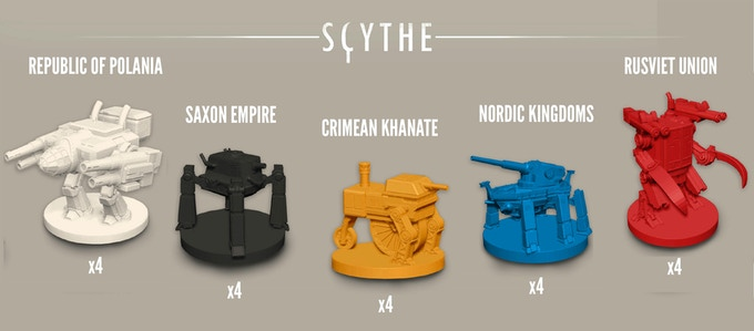 Each faction has 4 mechs in their faction color that can be deployed during the game. Each mech miniature has a 30mm base and a height of 26-36mm.