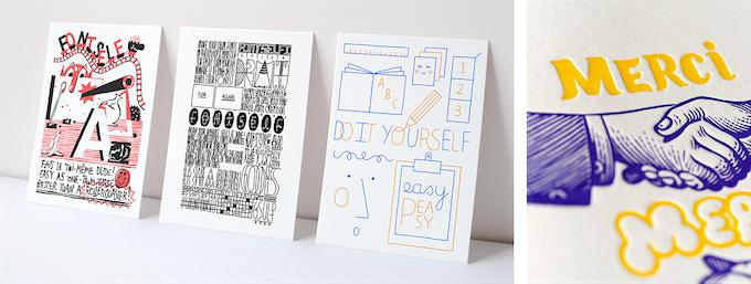 Three exclusive letterpress cards (by Sébastien Touache, Mathieu Julien and Steffie Brocoli) and our thank you note (by Matthias Lehmann © LETTERPRESS DE PARIS)