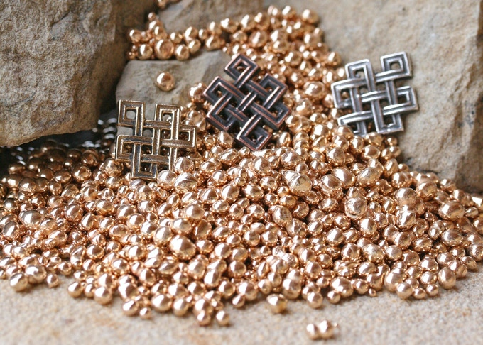 Tibetan Knot in Bronze, Copper and Silver