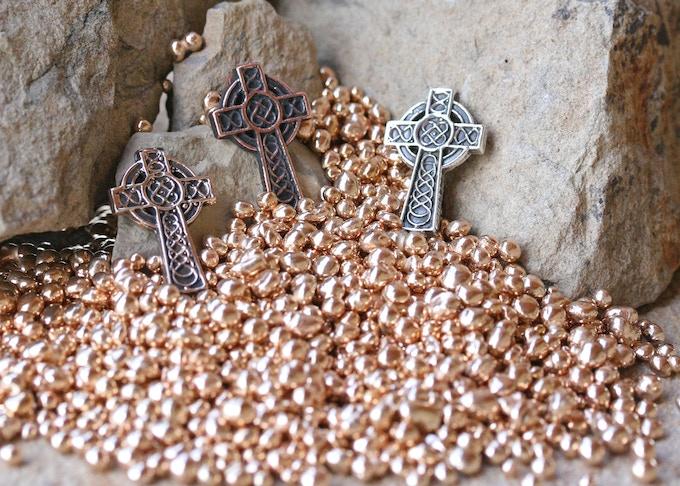 Celtic Cross in Bronze, Copper and Silver
