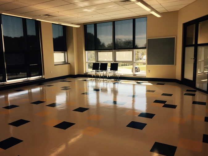 An empty classroom waiting to be transformed into our makerspace.