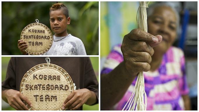 A Micronesian handicraft made of pandanas leaves