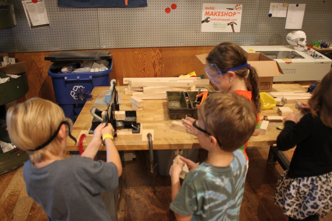 Children learning in the MAKESHOP at Children's Museum of Pittsburgh