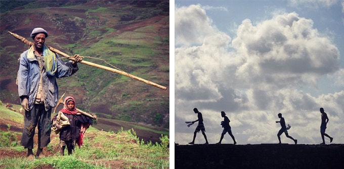 Left : Father and son going to the field (Ethiopia)   Right : Shadow of 4 men going to swim (Brazil)