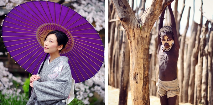 Left : Young boy in his village (Ethiopia)    Right : Woman in the streets of Kyoto (Japan)