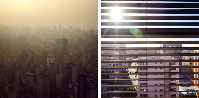 Left : Sunrise over Los Angeles (USA)   Right : Sunset over Sao Paulo (Brazil)