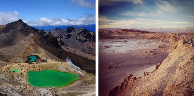Left : Volcano in the Tongariro NP (New Zealand)   Right : Desert of the Valle de la luna (Chile)