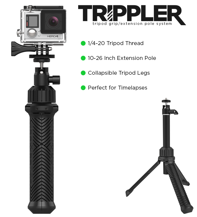 The Trippler works seamlessly with GoPros, Mobile Phones, Point-and-Shoot and Mirrorless Cameras