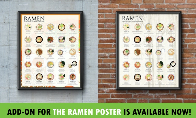 "For adding a 16x20 ramen poster, add $23 to your total Pledge for an add-on! See ""THE RAMEN POSTER"" section for step-by-step direction."