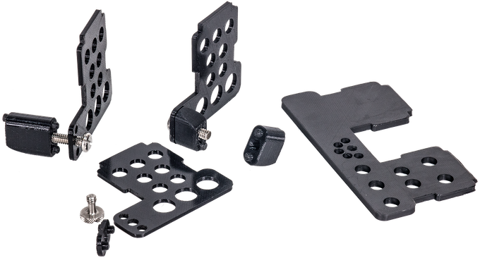 Various components of receiver mounts and prototype double receiver bracket.